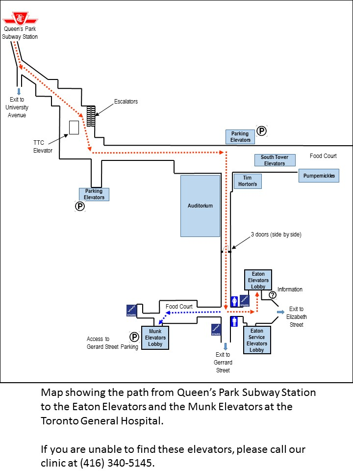 Map from Queen's Park to TGH through MaRS