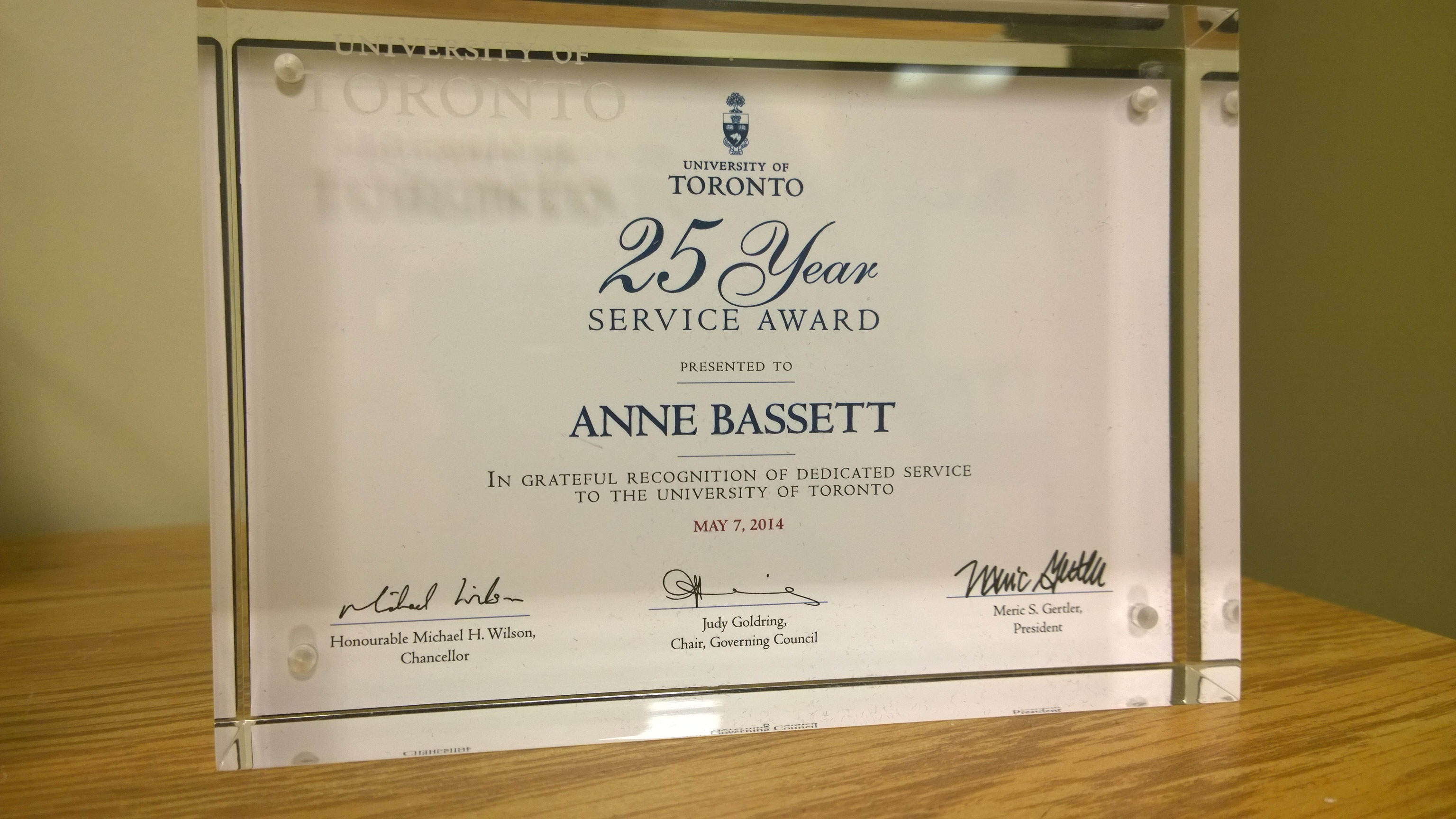 Years Of Service Awards Certificate